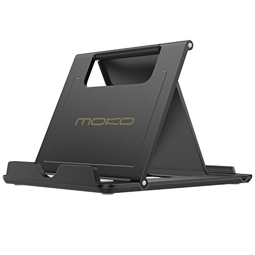 MoKo Multi-Angoli Portatile Pieghevole Supporto per Smartphone, Tablet (6-11 Pollici) e E-Reader, Adatto a iPad PRO 11, New iPad Air, iPad Mini 5, iPhone XS Max/XS/XR, Galaxy S10 / S9, Nero