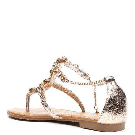 Ideal Shoes - Sandales plates nacrées avec maille incrustée de strass Meila Champagne