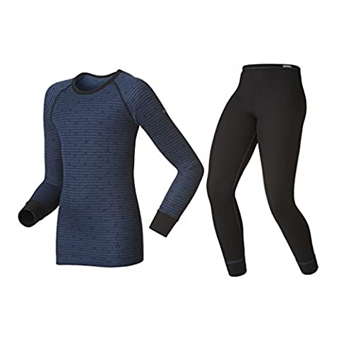 Odlo Kinder Set Shirt Long Sleeve Pants Warm Kids, Black - Estate Blue, 128, 150409
