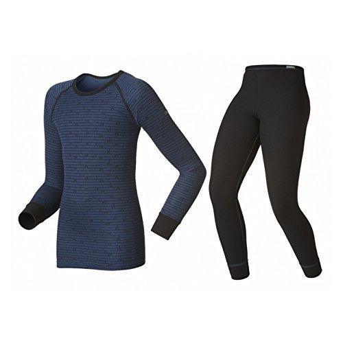 Odlo Kinder Set Shirt Long Sleeve Pants Warm Kids, Black - Estate Blue, 104, 150409