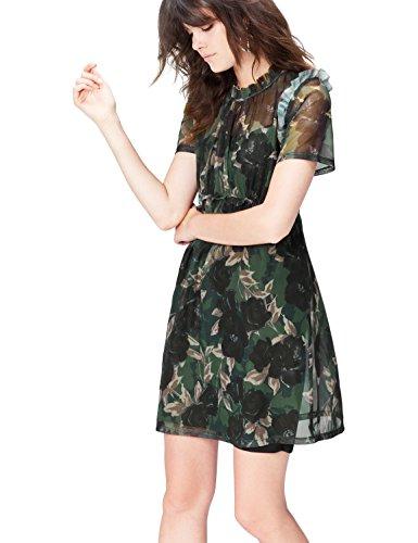 FIND Damen Chiffon-Kleid mit Rüschendetails Mehrfarbig (Black Mix), 42 (Herstellergröße: X-Large) (Chiffon-mix)