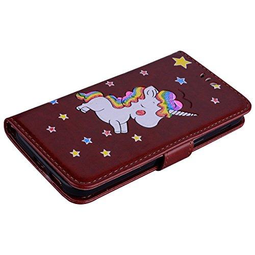 Coque Samsung Galaxy A5 (2017) , Bling Glitter Licorne Étui Protection Wallet PU en Cuir Housse la Haute Qualité Pochette Anti-rayures Couverture Bumper Rabat Magnétique Antichoc Cuir Véritable Case A Brun