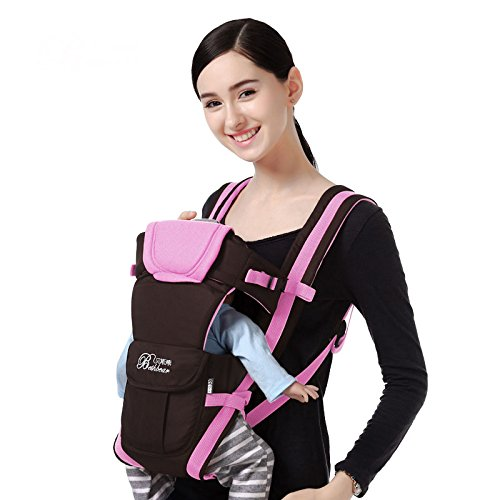 Bethbear Adjustable 4 Positions Carrier 3D Backpack Pouch Bag Wrap Soft Structured Ergonomic Sling Front Back Newborn Baby Infant (Pink)