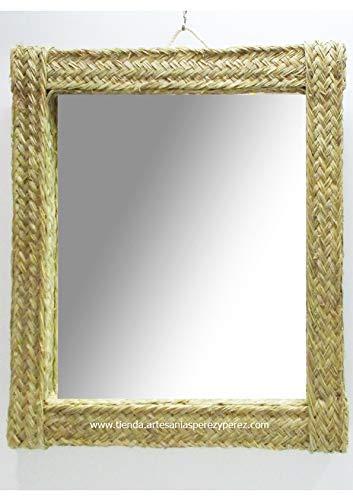Espejo de esparto rectangular con cristal vertical