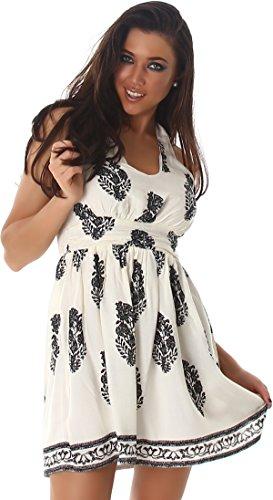 Voyelles Sommer-Kleid kurz Retro Blumen-Musterung, Creme 34/36 S -