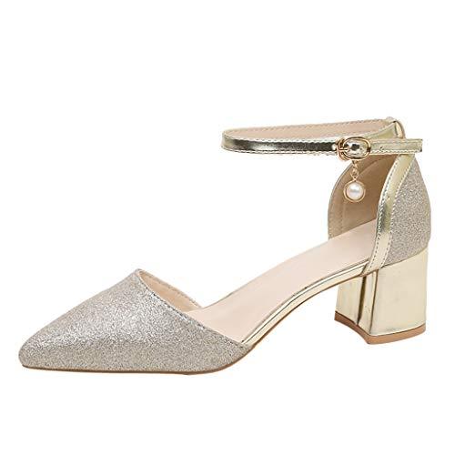 Lilicat Donna Estate Scarpe col Tacco Stiletto Elegante Caviglia Pompe Partito Sandali con A Punta Alta Scarpa Casual Scarpe Casual con di Perle Decorazione(Oro 3,35 EU)