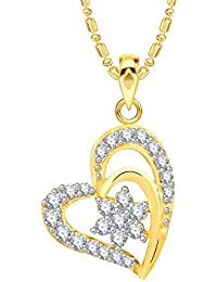 VK Jewels Star In Heart Gold And Rhodium Plated Alloy CZ American Diamond Pendant With Chain For Women [VKP2557G]