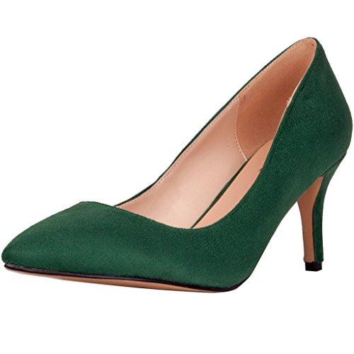 Calaier Donna Camake Feste Matrimonio Progettista Abiti Point Toe Alto Tacco Spillo Grande Formato Calza Pompe 5.5CM Tacco A Spillo Scivolare Su Scarpe col tacco, verde, 41