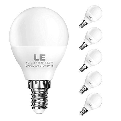 LE Bombillas LED E14 5.5W = 40W Incandescente 470lm, Blanco cálido 2700K, Pack de 5 bombillas E14 P45