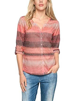 Comma CI Damen Regular Fit Bluse 3/4 ARM, Gr. 44, Mehrfarbig (orange AOP)