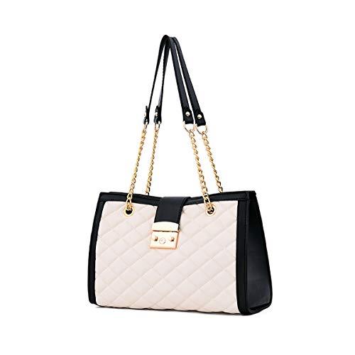NICOLE & DORIS Damen handtaschen Umhängetasche Handtasche mit Kett Trending Handtaschen für Damen Mode Lingge Kette Tasche Weiß