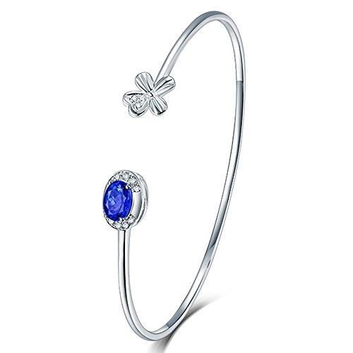LetsBuySilver Damen 18K Weiß Gold Armreif natürlicher Tansanit Diamant Armband für Frauen Jahrestag Geschenk