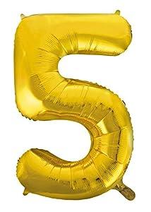 Idena 38220 - Globo de plástico con número 5, color dorado