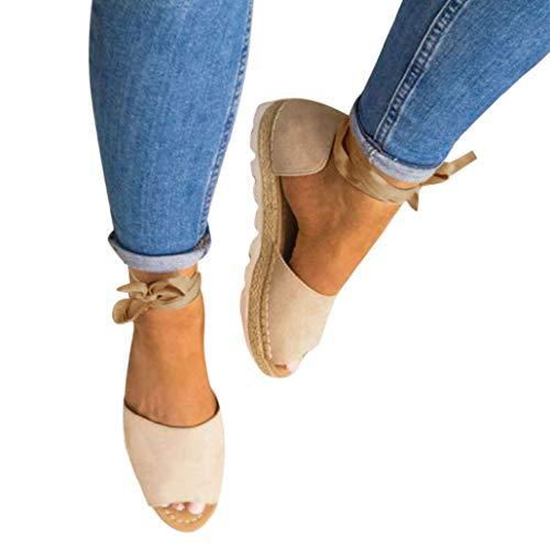 Sandalen, Bluelucon Damen Offene Sandaletten Sommer Espadrille Mit Absatz Elegant Plateau Sommerschuhe Riemchen Schuhe