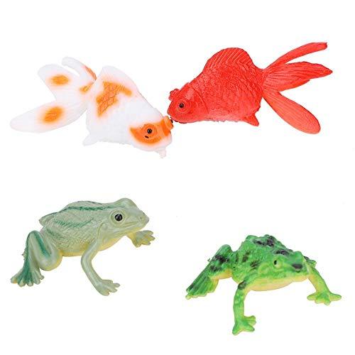 Zerodis 36 Stücke Simulation Modell Ornamente Goldfisch und Frosch Tier Kunststoff Modell Dekoration pädagogisches Spielzeug für Kinder Jungen und Mädchen(Fisch) -