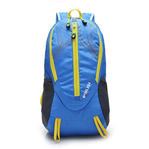 Wewod Multi-Tasche Mode im Freien Sporttasche Reiserucksack Falten Blau