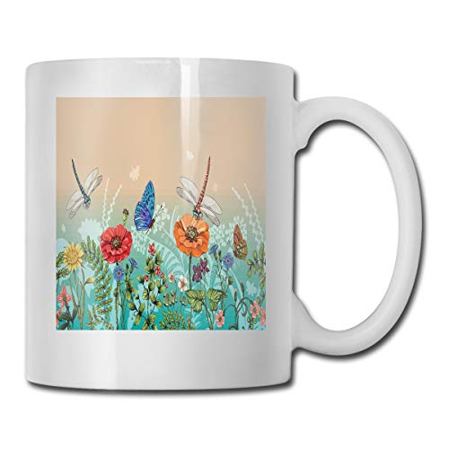 Jolly2T Funny Ceramic Novelty Coffee Mug 11oz,Flourishing Nature Illustration with Butterflies and Dragonflies Colorful Pattern,Unisex Who Tea Mugs Coffee Cups,Suitable for Office and Home Butterfly Demitasse
