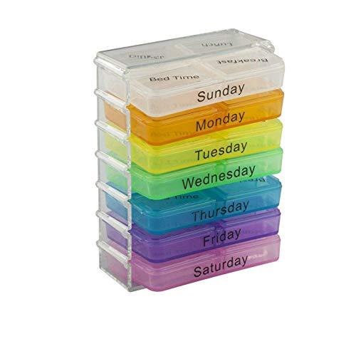 OneMoreT Tabletten-Organizer für Medikamente, 28 Fächer, tragbar, wöchentlich, für 7 Tage