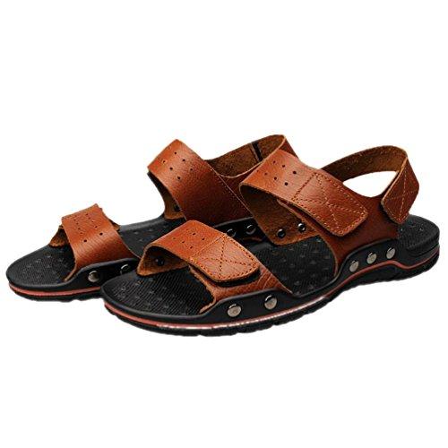 SHANGXIAN Été anti-dérapant hommes Flip Flops occasionnels sandales en cuir (deux sortes de tees) Red Brown