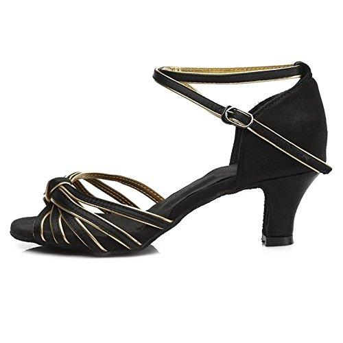 HROYL Damen Tanzschuhe/Latin Dance Schuhe Satin Ballsaal Modell-D7-217 5CM Schwarz+Gold