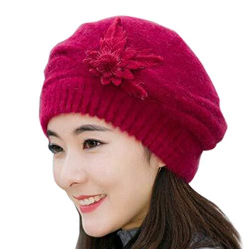Timogee Damen warme Wintermütze Beanie Winter Style Beanie Strickmütze Mütze Hat (Wein)