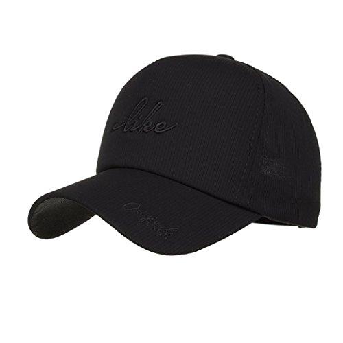 UFACE Beiläufige Kappe der männlichen und Weiblichen Buchstaben Männer Frauen Einstellbare Baseball Sonnencreme Cap Snapback Hip-Hop-Hut Unisex Cap (Schwarz)