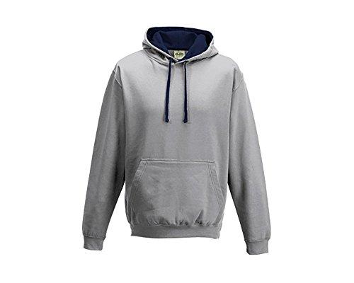 Varsity sweat-shirt à capuche à capuche pull-over à capuche unisexe coloré - Heather Grey French Navy
