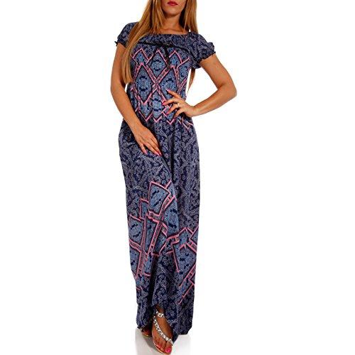 Young-Fashion Maxi-Kleid Carmen Kurzarm und mit Ausschnitt - ALS Stylisches Strand-Kleid oder Party-Kleid, Farbe:Royalblau, Größe:M/L = 34/36