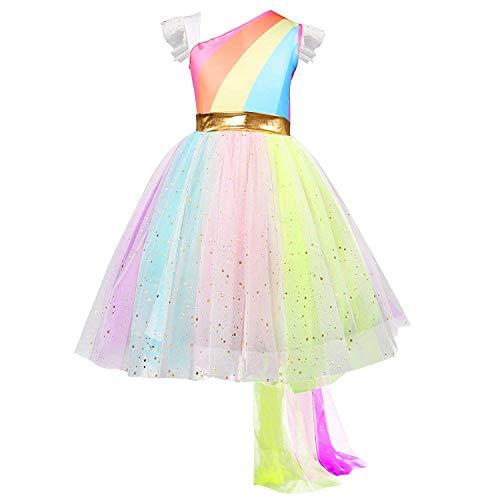 NNJXD Mädchen-Regenbogen Ärmel Stage Performance-Kostüm-Partei-Zeremonie Karneval Einhorn-Art Kostüme Größe (140) 6-7 Jahre Regenbogen (Regenbogen Einhorn Kind Kostüm)