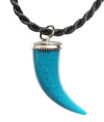 Bijoux De Ja Simulated Turquoise Wolf Fang Pendant Cord Necklace 16 (TWFN-05) by Bijoux De Ja