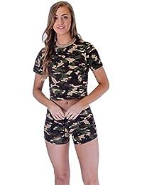 Camiseta estampada de manga corta con capucha de camuflaje corto para mujer, para uso militar, set 8-14