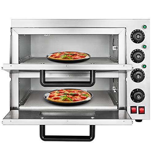 OldFe 3KW Forno Pizza Elettrico Professionale 350℃ Forno Per Pizza In Acciaio Inox 55 x 52x 43cm Fornetto Elettrico A Due Ripiani Controllare Separato