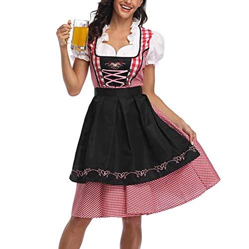 Deutsche Oktoberfest Kostüm Weiblich - Oyria Erwachsene Damen Bayerisches Oktoberfest Biermädchen Großes Kostüm, Deutsches Dirndl Weibliches Kostüm (Rot & Schwarz, S)