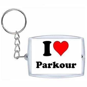 Porte-clés I Love Parkour en Blanc| grande idée de cadeau pour toute occasion!