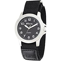 Ravel Easy Read Work Watch with Fast Fit Action Grip Velcro Strap Men's Quartz Watch with Black Dial Analogue Display and Black Nylon Strap R1601.60.13