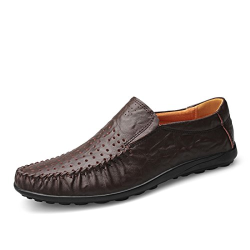 Minitoo Boys Mens Slip-On Spring Summer Shoes Breathable Loafers Coffee