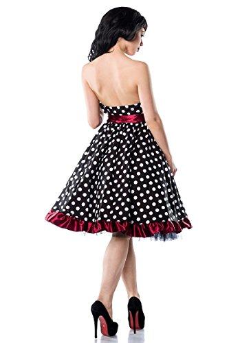 50er Jahre Rockabilly Bandeau Kleid mit breiter Schärpe A12655, Größe:40;Farbe:burgund -