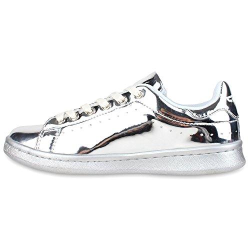 Damen Sneakers Sportschuhe Schnürer Lack Lederoptik Schuhe Silber Metallic