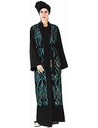 425b08e9e5e Les Femmes Musulmanes Robe Cardigans Robe Manteau Long avec Ceinture en  Perles Moyen-Orient Islamique Maxi Robe Pleine Longueur Arabe…