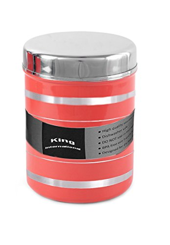 [Sponsored]King International Stainless Steel Food Storage Containers, Storage Box ,Red Multipurpose Storage Box,Container Set Of 1 Piece, 13 Cm, 1000 Ml
