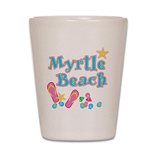 CafePress-Myrtle Beach Flip Flops, --Shot Glas, Einzigartige und lustige Shot Glas weiß (South Carolina-sweatshirt Weiß)