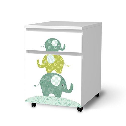 creatisto Möbel-Aufkleber Folie für IKEA Malm Schubladenelement auf Rollen | Sticker Kinder-Zimmer dekorieren | Wohnideen IKEA Möbel für Kinder-Zimmer Dekor | Kids Kinder Elephants