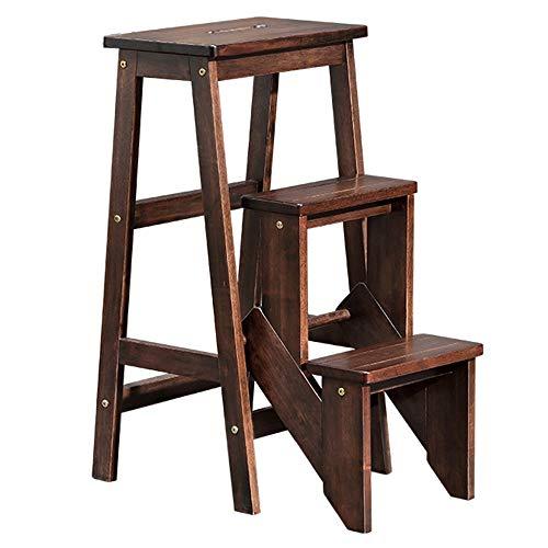 Folding chair Poggiapiedi Largo Multifunzionale in Legno Massello, Sgabello Pieghevole Pieghevole da Cucina, Scala in Legno/Sgabello Alto/Sedia Bar/Porta Fiori/scarpiera