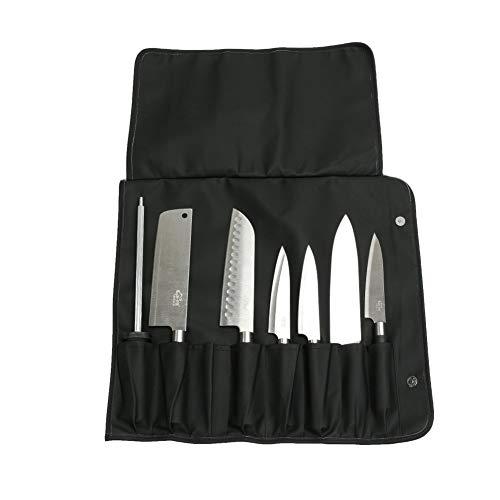Qees - Sac à couteaux avec 8 emplacements, robuste et durable, pochette de rangement pour les sous-chefs, cuisiniers, étudiants en cuisine