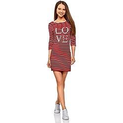 oodji Ultra Mujer Vestido de Punto con Estampado, Rojo, ES 36 / XS