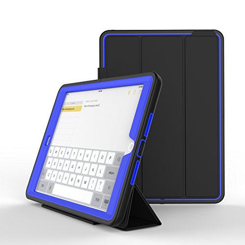 Yoomer Schutzhülle für iPad Air, dreilagig, robust, mit magnetischer Auto-Sleep-/Wake-up-Funktion, Hybrid-Leder-Ständer, 24,6 cm (9,7 Zoll), blau (Dallas Auto-zubehör)