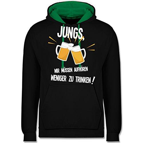Statement Shirts - Jungs, wir müssen aufhören weniger zu trinken - Kontrast Hoodie Schwarz/Grün