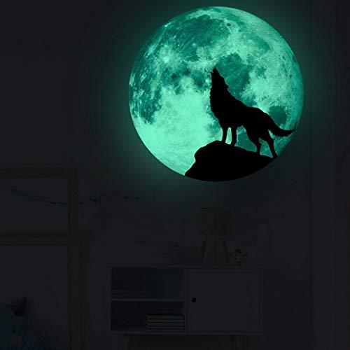 Mitlfuny Festival dekor,Christmas,Halloween,Weihnachtsdekoration,Halloween deko,Halloween kostüm,Kreative Luminous Moon Wandaufkleber Halloween Dekoration Aufkleber Luminous Wolf (Cute Girl Wolf Kostüm)