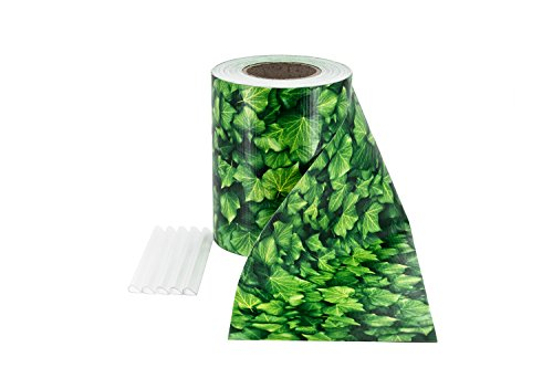ILESTO PVC Sichtschutzstreifen für Doppelstabmatten - Sichtschutz für Ihren Gartenzaun & Doppelstabmattenzaun, 35m x 19cm - Blatt-Optik