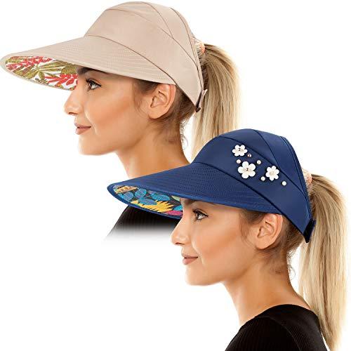 Sonnenblende Hüte für Frauen Wide Brim Sun Hat UV-Schutzkappen Floppy Beach Packable Visor (Marineblau und Khaki) - Brim Packable Floppy-hut